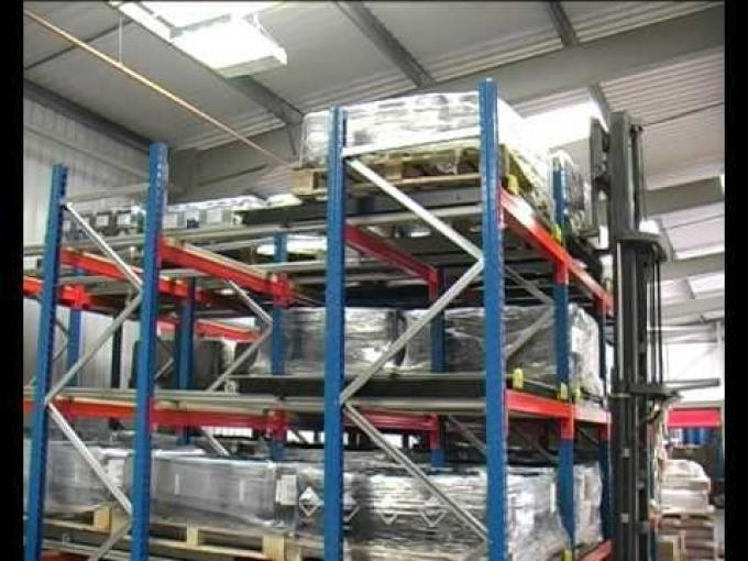Push Back Pallet Racking Demonstration Video by EZR Shelving